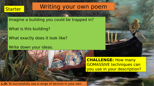 KS3 (7/8/9) Writing a poem inspired by 'The Lady of Shalott'