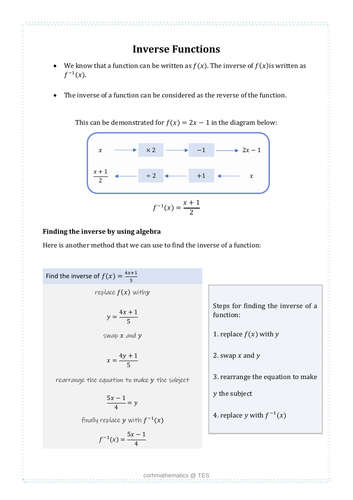 Inverse functions handout