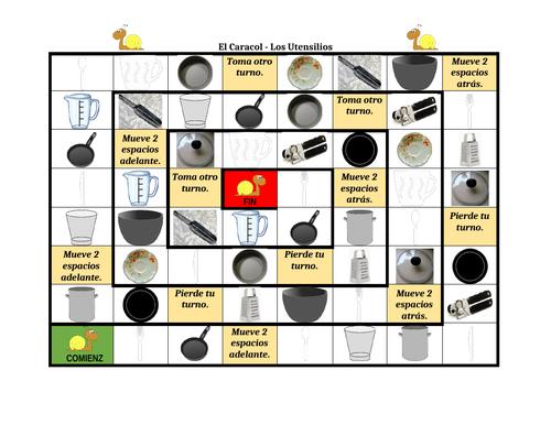 Utensilios (Utensils in Spanish) Caracol Snail Game