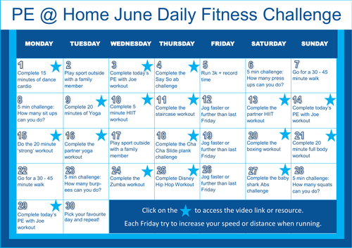 PE@Home Daily Fitness Challenge - June