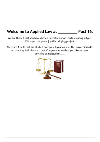 Y11-12 Transition Project Law (21 tasks)