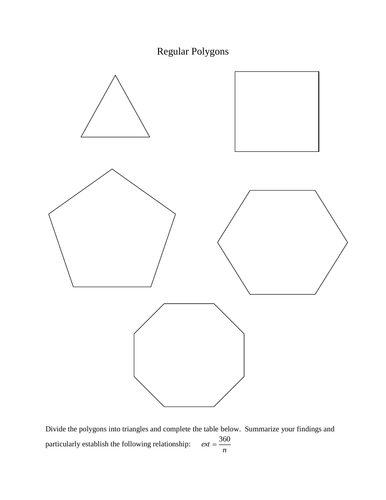 Regular polygons - investigation