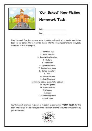 'Our School' Non-Fiction Homework Task and School Prospectus