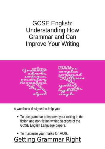 GCSE English Grammar for Writing Booklet