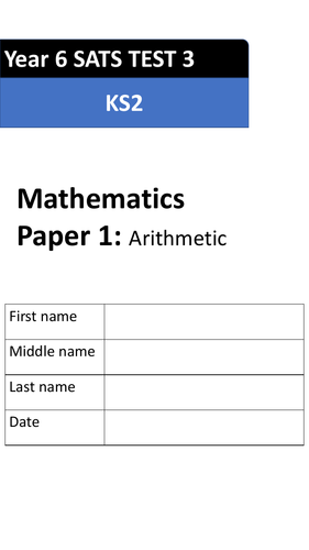 Maths KS2: Year 6 SATS Arithmetic Paper. Test 3