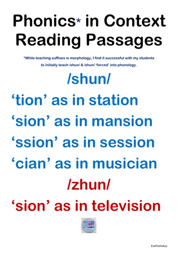 Phonics* in Context Reading Passages: /shun/ & /zhun/