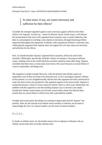 OCR Cosmological Argument Essay