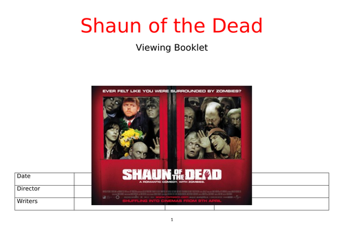 Shaun of the Dead Viewing Booklet