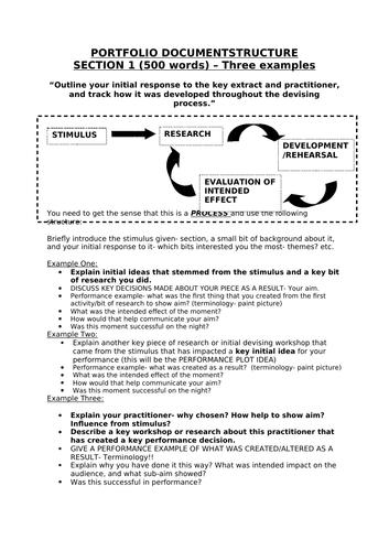 Edexcel Drama and Theatre Component 1: Portfolio Structure guides
