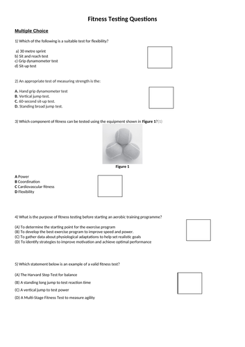 Fitness Testing Questions for GCSE PE