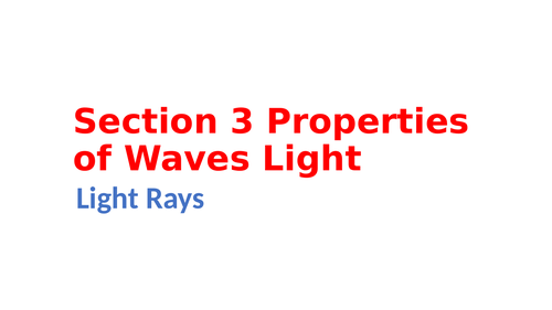 IGCSE Physics Section 3 Properties of waves, Light