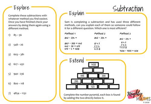 Subtraction Using Different Methods
