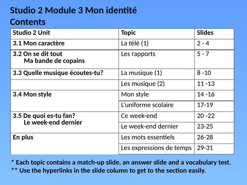 Studio 2 Mod 3 Mon identité Vocab Match