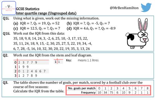 GCSE Statistics - Inter Quartile Range (Ungrouped) Reasoning Resource