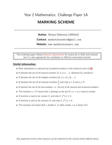 Year 2 Maths - CHALLENGE Paper 1A