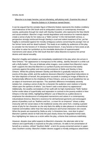 Blanche dubois streetcar named desire essay worst essays on hamlet