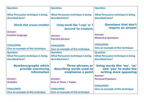 KS3 / KS4 English - Quiz Quiz Trade Cards - Persuasive Techniques - Great Revision