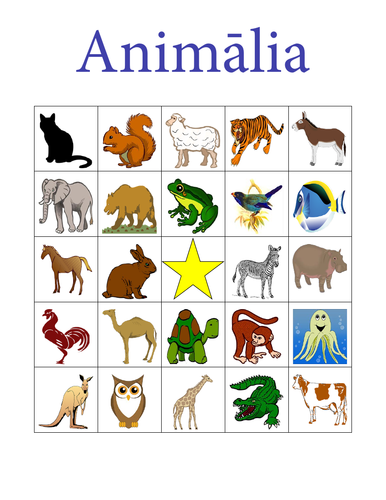 Animālia (Animals in Latin) Bingo