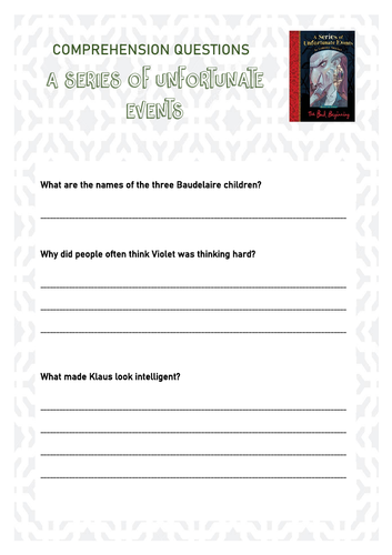 A Series of Unfortunate Events Comprehension Questions