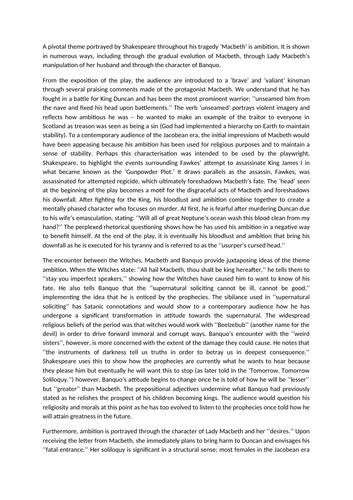 Ambition in Macbeth - Grade 9 Essay