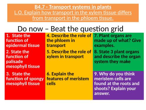 AQA B4.7 Transport systems in plants