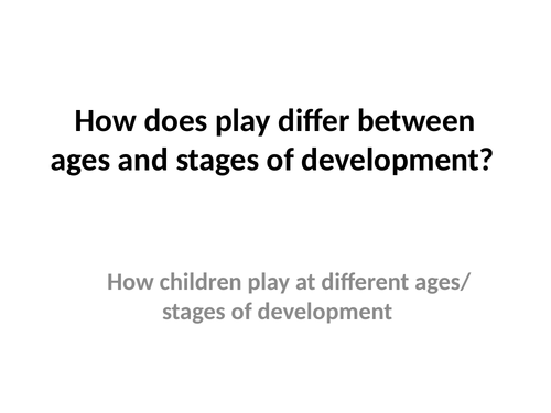 First Award in Children's Play Learning and Development