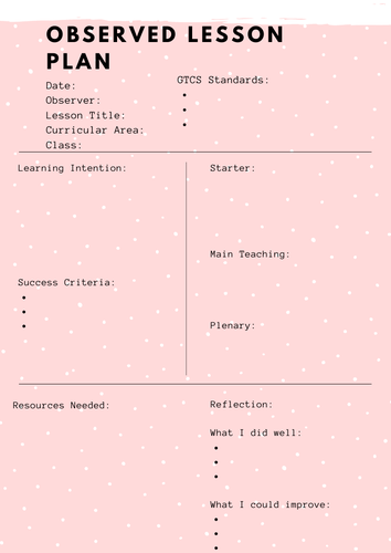 Observed Lesson Printable Planning Sheet PDF