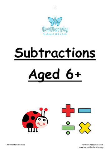 6+ Subtraction Workbook