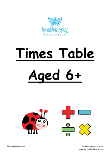 6+ Times Table Workbook