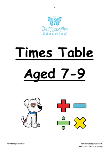 7-9 Times Table Workbook