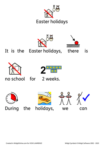 Easter holidays social story