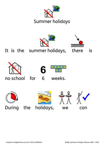 Summer holidays social story