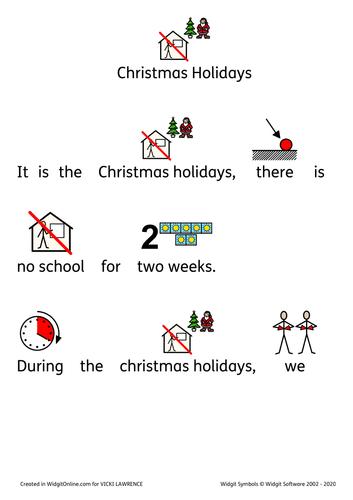 Christmas holidays social story