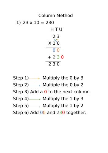 Column method support for multiplication