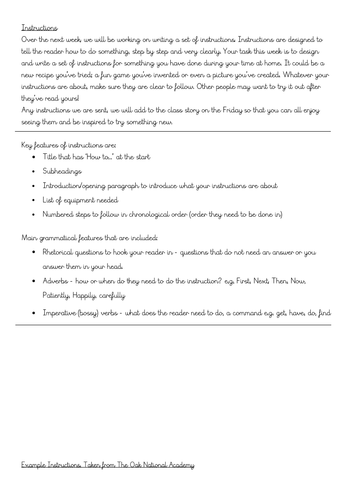 Home learning - instruction writing