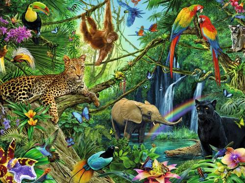 Verb IR (full conjugation) + jungle theme