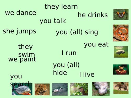 Spanish -IR verbs (vivir) + jungle theme