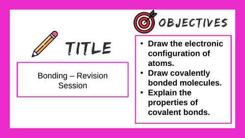 GCSE / iGCSE - Bonding Revision Session - Online Teaching Prompt
