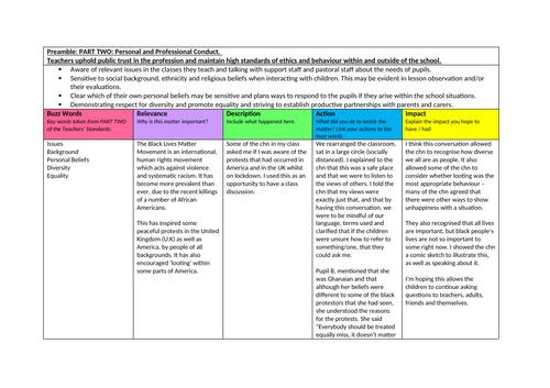 Teachers' Standards PART TWO: Log of Evidence