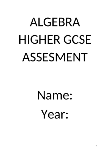 GCSE ALGEBRA HIGHER ASSESSMENT