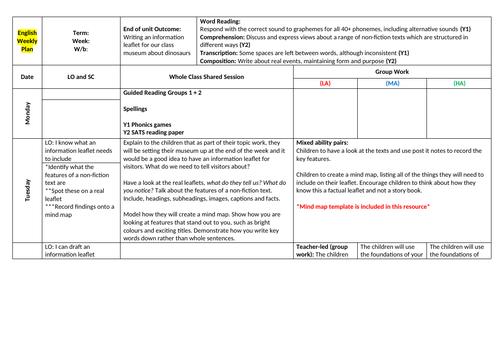 KS1 Dinosaur English Planning (Information leaflet) (4 of 7)