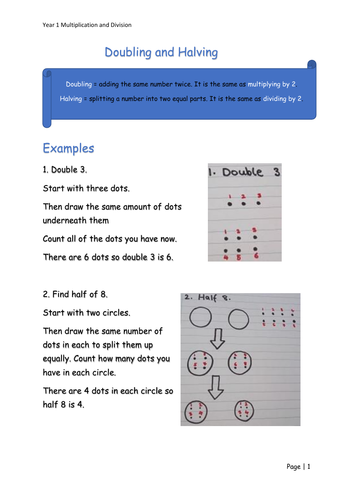 Y1 Maths - Doubling and Halving