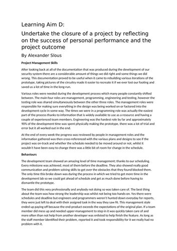 IT Project Management Assignment 3: How did the project go?