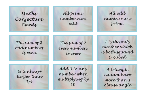 Maths Cards (Always, Sometimes or Never True)