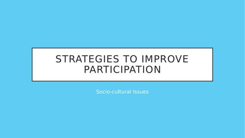 Strategies to improve participation in sport - OCR GCSE P.E.