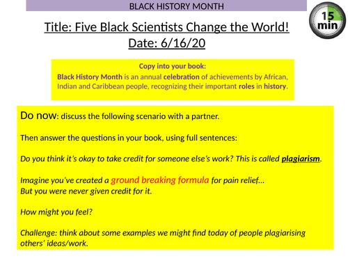 Black History Lesson-Five Black Scientists Change the World!