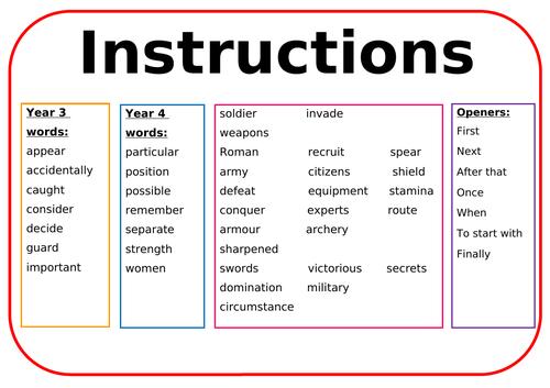 Instructions wordmat