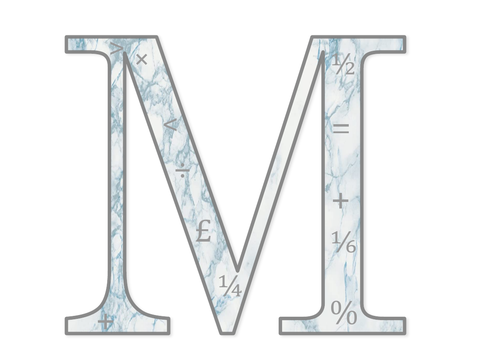 Maths Lettering For Display (Blue Marble)