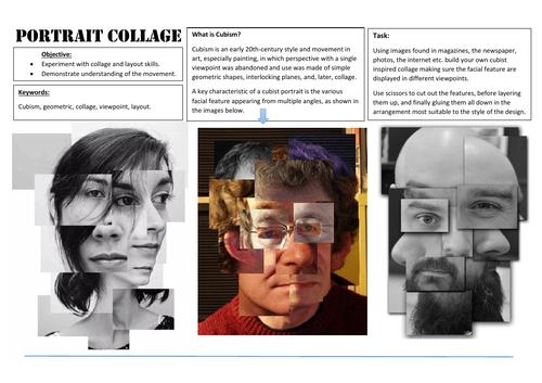 Cubist collage portait  lesson