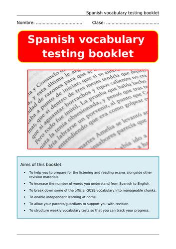 Spanish Vocabulary Booklet GCSE